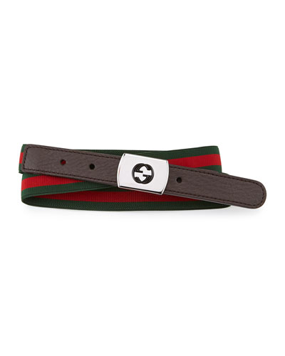 Gucci Web Plaque-Buckle Belt, Brown