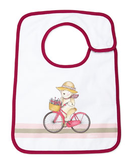 Gucci Teddy & Bicycle Baby Bib, Magenta