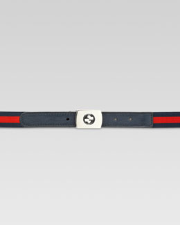 Gucci Boys' Adjustable Web Belt, Blue