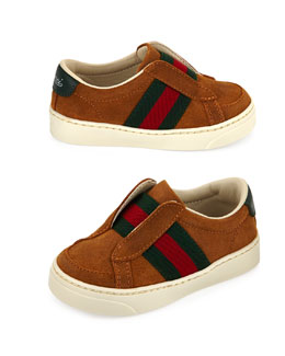 Gucci Web-Detail Suede Slip-On Sneaker, Light Brown