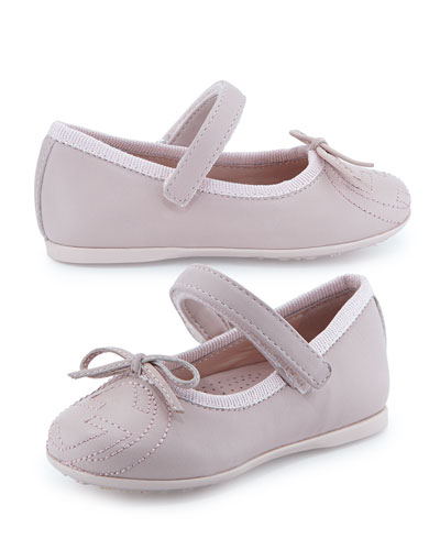 Interlocking G Leather Ballet Flat, Pink