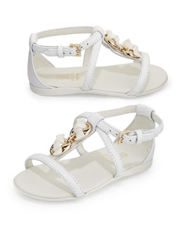 Gucci Leather Marina Chain Sandal, White