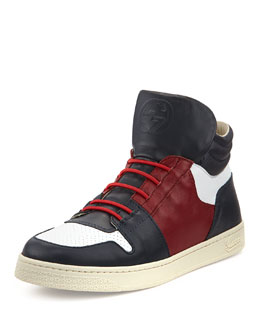 Gucci Leather High-Top Sneaker, Dark Blue