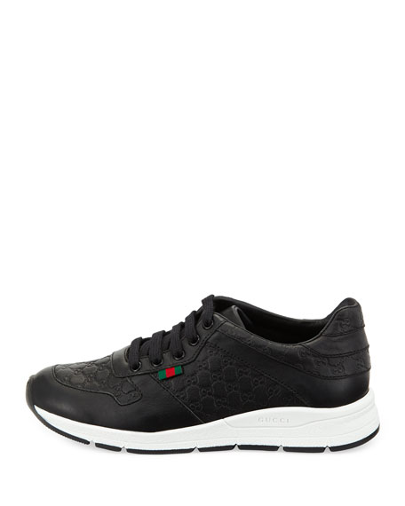 Kids Microguccissima Leather Sneaker, Black