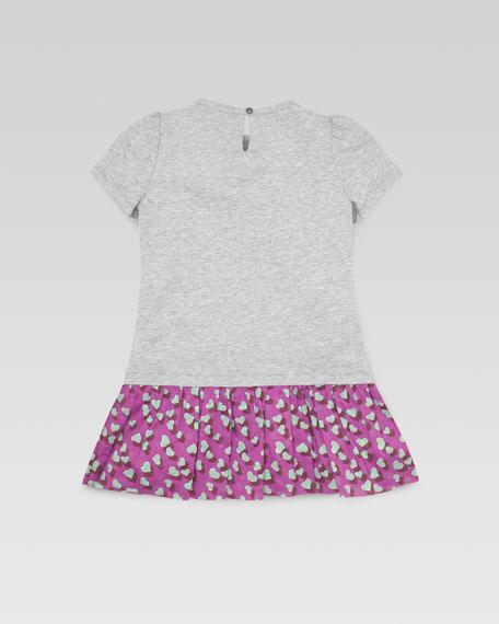Heartbeat-Print Drop-Waist Dress, Gray, Sizes 4-10