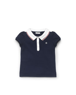Gucci Web-Detail Pique Polo, Blue, Sizes 4-10