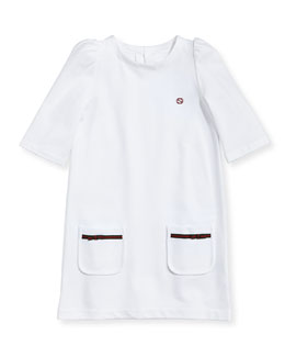 Gucci Pique Patch-Pocket Dress, White, 4Y-10Y