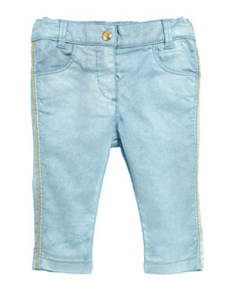 Little Marc Jacobs Pearlized Pants with Metallic Stitching, Blue, Sizes 3-18 Months