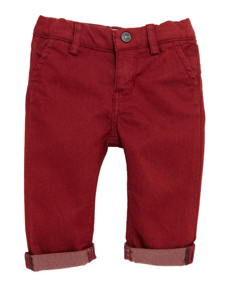 Cotton-Blend Slim-Fit Pants, Burgundy, 3-18 Months