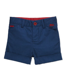 Little Marc Jacobs Stretch-Cotton Mouse-Pocket Shorts, Blue, 3-18 Months