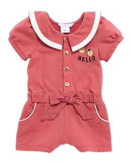 Little Marc Jacobs Wide-Collar Hello Romper, Cranberry, 3-18 Months