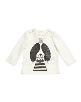 Little Marc Jacobs Dog-Print Long-Sleeve Jersey Tee, Sizes 3-18 Months