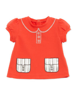 Little Marc Jacobs Trompe l'Oeil Collar & Pockets Tee, Coral, 3-18 Months