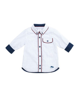 Little Marc Jacobs Woven Graph-Check Shirt, Blue, 3-18 Months