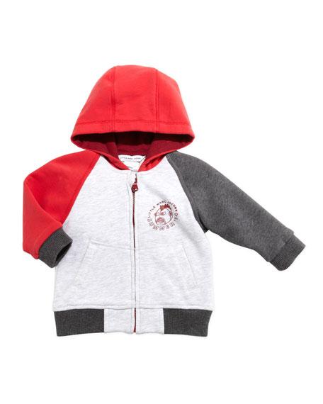 Colorblock Zip-Front Hoodie, Gray/Red, 3-18 Months
