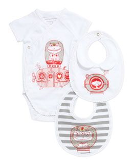 Little Marc Jacobs Infant Girls' Short-Sleeve Playsuit & Two-Bib Box Set