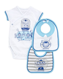 Little Marc Jacobs Infant Boys' Short-Sleeve Playsuit & Two-Bib Box Set