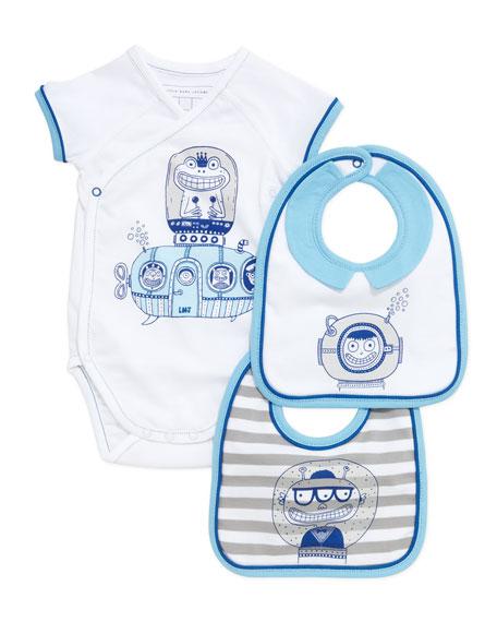 Infant Boys' Short-Sleeve Playsuit & Two-Bib Box Set