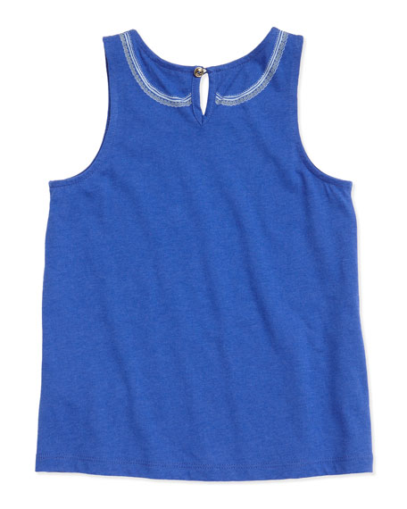 Tromp l'Oeil Collar & Pocket Tank Top, Blue, Sizes 2-5