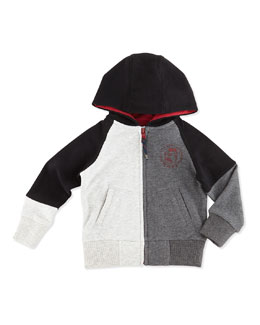 Little Marc Jacobs Colorblock Zip-Front Hoodie, Black/Gray, Boys' 2T-5