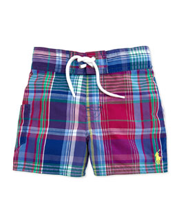 Ralph Lauren Childrenswear Tulum Plaid Swim Trunks, Red, Boys' 9-24 Months