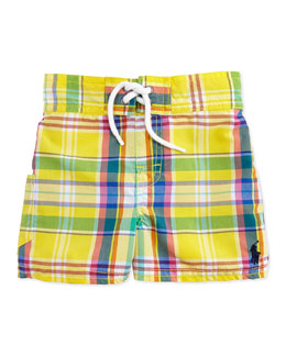 Ralph Lauren Childrenswear Tulum Plaid Swim Trunks, Yellow, Toddler Boys' 2T-3T