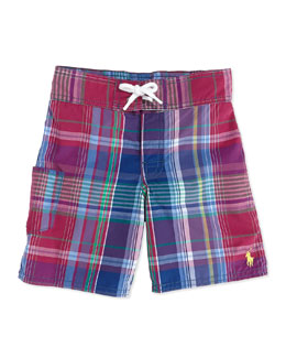 Ralph Lauren Childrenswear Tulum Plaid Swim Trunks, Red, Boys' 4-7