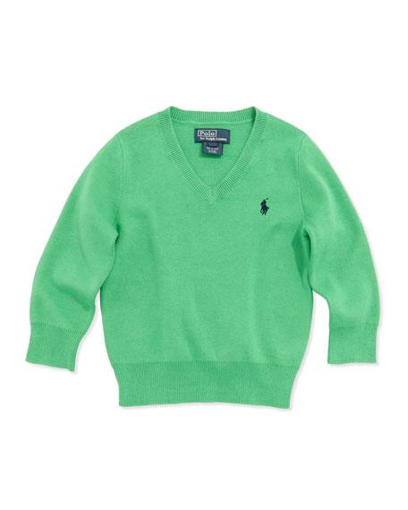 Long-Sleeve V-Neck Sweater, Green, Boys' 4-7