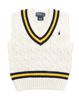 Ralph Lauren Childrenswear Cricket Cable-Knit Vest, Cream, Boys' 4-7