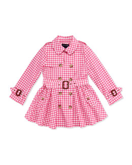 Ralph Lauren Childrenswear Gingham Full-Skirt Trench Coat, Pink, Girls' 4-6X