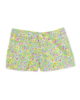 Ralph Lauren Childrenswear Floral-Print Shorts, Green, Girls' 4-6X