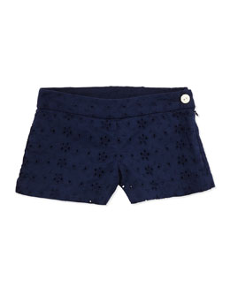 Ralph Lauren Childrenswear Eyelet Shorts, Navy, Girls' 4-6X