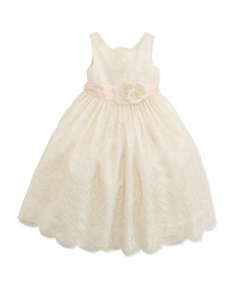 Ralph Lauren Childrenswear Embroidered Silk Organza Dress, 2T-3T