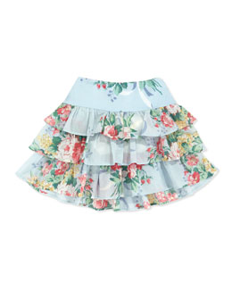 Ralph Lauren Childrenswear Floral Ruffle Skirt, Blue, 2T-3T