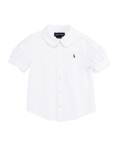 Short-Sleeve Oxford Shirt, White, Toddler Girls' 2T-3T