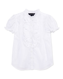 Ralph Lauren Childrenswear Ruffle-Trim Batiste Top, White, Toddler Girls' 2T-3T