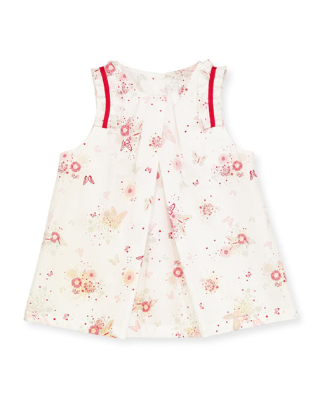 Butterfly-Print Dress, White, 1m-18m