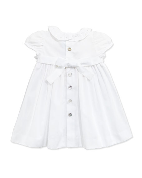 Golden-Piped Smocked Dress, White, 1m-18m