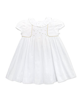Tartine et Chocolat Golden-Piped Smocked Dress, White, 1m-18m