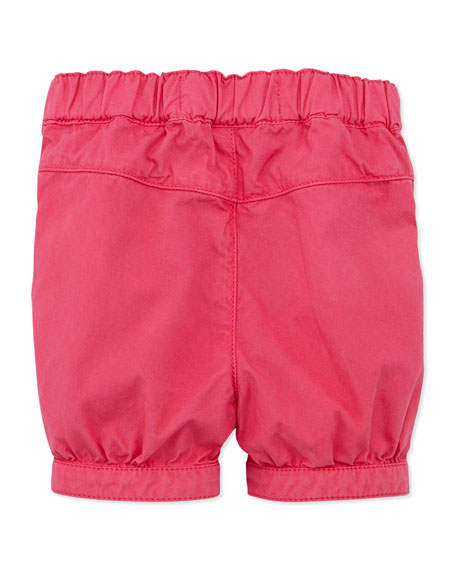 Bow-Pocket Cotton Shorts, Fuchsia, 1m-18m