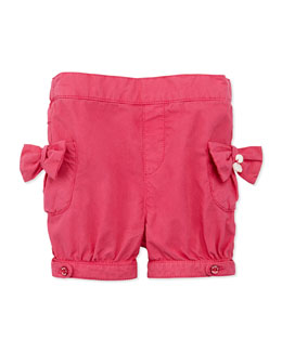Tartine et Chocolat Bow-Pocket Cotton Shorts, Fuchsia, 1m-18m