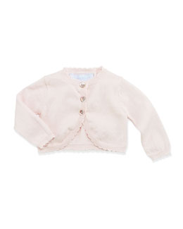 Tartine et Chocolat Pointelle-Bow Knit Cardigan, Pink