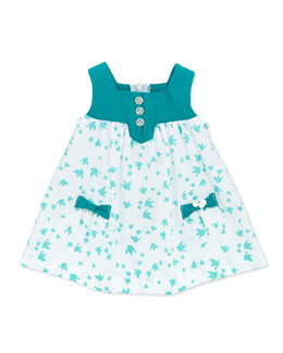 Tartine et Chocolat Bird-Print Sleeveless Dress, White, 1m-18m