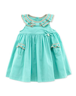 Tartine et Chocolat Ruffle-Collar Sleeveless Dress, Green, 1m-18m