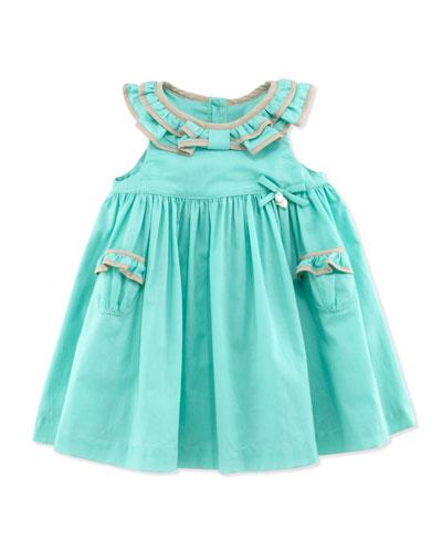 Tartine et Chocolat Ruffle-Collar Sleeveless Dress, Green, 1m-18m