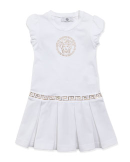Versace Medusa Drop-Waist Dress, White Gold, Sizes 2-6