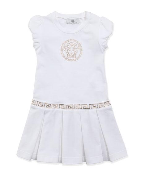 Medusa Drop-Waist Dress, White Gold, Sizes 2-6
