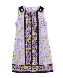 Versace Floral-Print Sleeveless Dress, Lilac/Black, 2-6