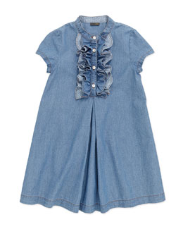 Fendi Chambray Ruffle-Front Dress, Blue, 6-8