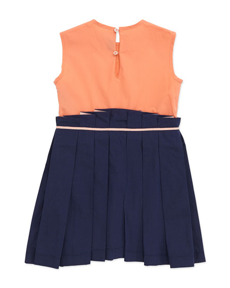 Sleeveless Colorblock Combo Dress, Navy, 2-5